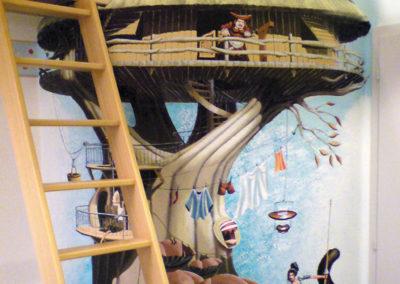 Maison arbre - fresque trompe l'oeil - chambre d'enfant - Fribourg